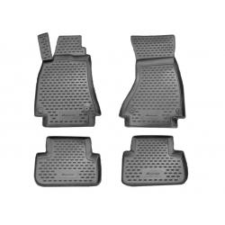 Guminiai kilimėliai AUDI A4 B8 2007-2015 (Pilkos spalvos, Pakeltais kraštais)