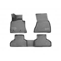Guminiai kilimėliai BMW X5 (F15) 2013-2018 (Pilkos spalvos, Pakeltais kraštais)