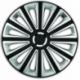 Ratų gaubtai R16 juodi-sidabriniai TREND BLACK-SILVER