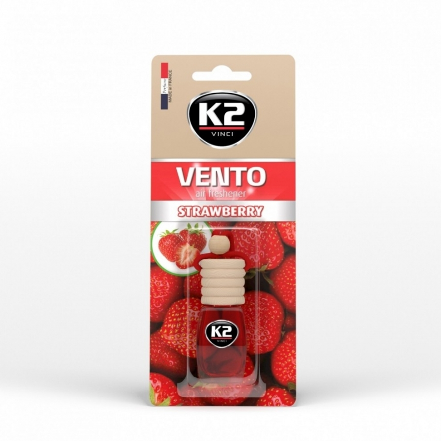 Pakabinamas oro gaiviklis K2 VENTO STRAWBERRY, 8 ml