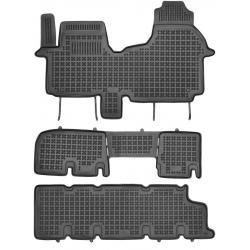 Guminiai kilimėliai OPEL Vivaro II 2014→ (9 vietų, trys eilės su ortakiu, Paaukštintais kraštais)